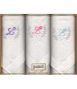 Pack 3 pañuelos inicial bordada para señora Royal